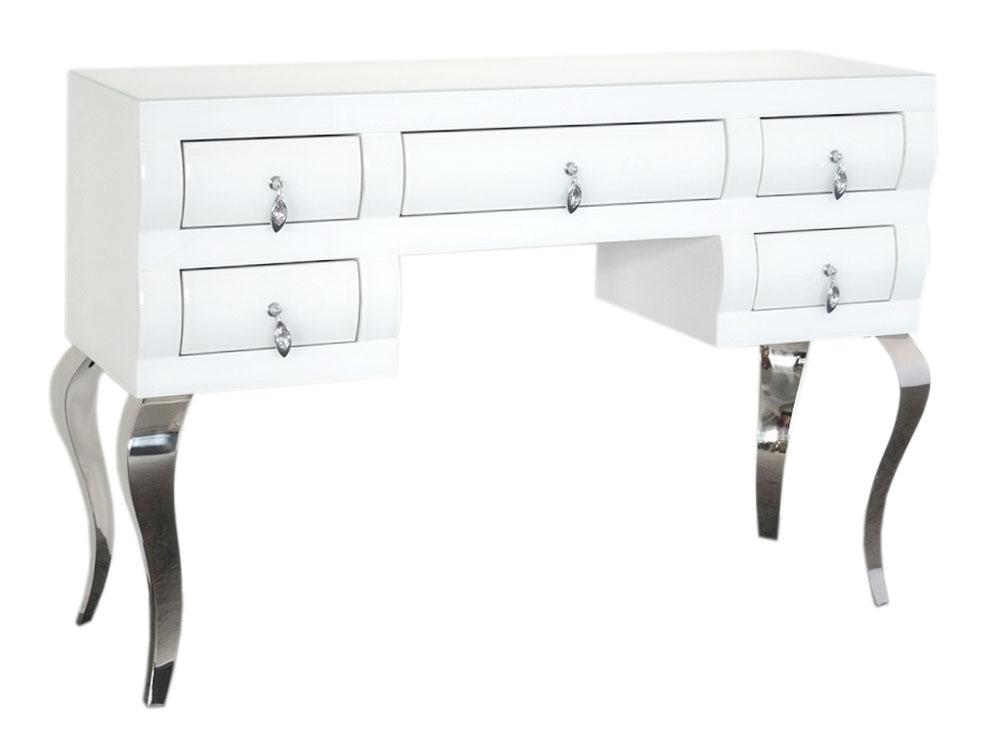Eurohome Барокко белый туалетный столик из стекла 16JS137