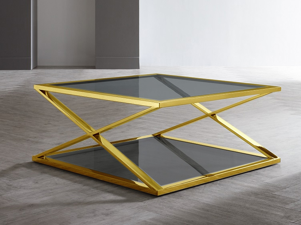 Eurohome Журнальный столик из закаленного стекла 100x100x43 CJ-1085