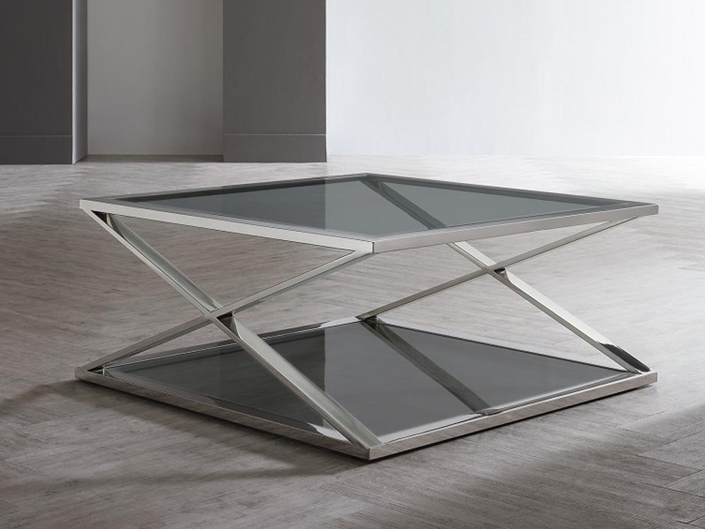 Eurohome Журнальный столик cj-1085 закаленного стекла 100x100x43см