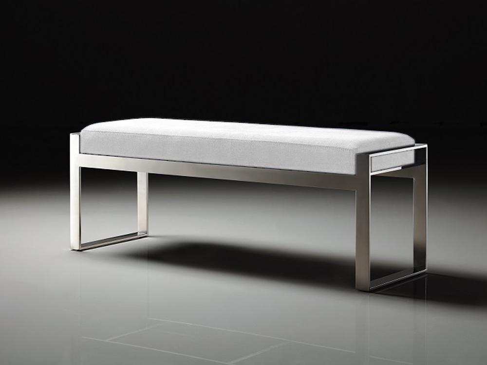 Eurohome Стильная скамейка с белым сидением 130 х 41 х 48 см Y1027
