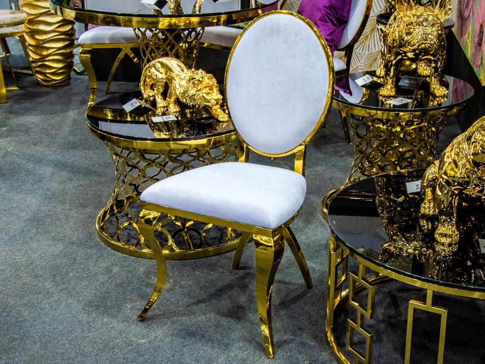 Eurohome Стильное бело-золотое кресло с согнутыми ножками 50 х 54 х 99 см B408