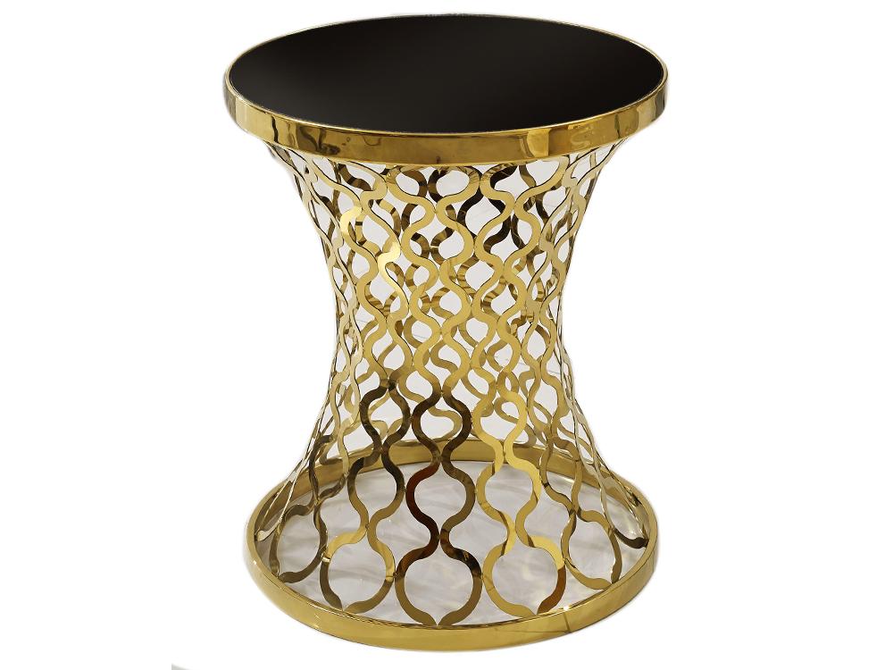 Eurohome Журнальный столик черного цвета на восточной золотой основе D404