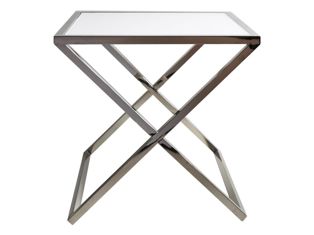 Eurohome Белый стальной стол со скрещенным основанием 50 х 50 см JJ1020