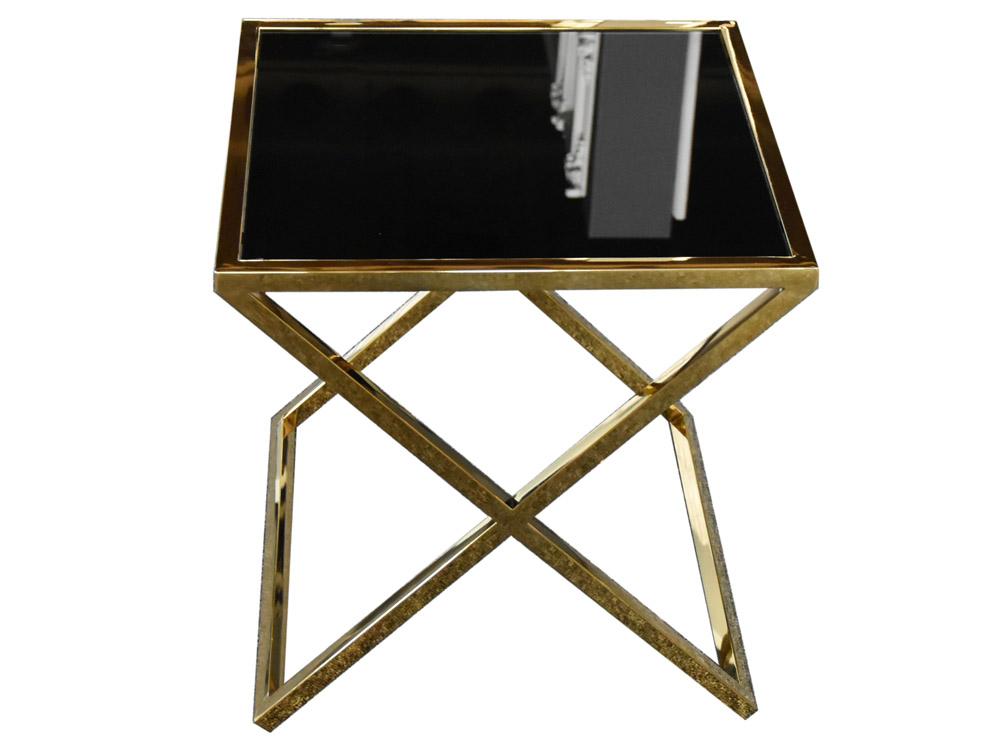 Eurohome Золотой стол со скрещенным основанием 50 х 50 см JJ1020