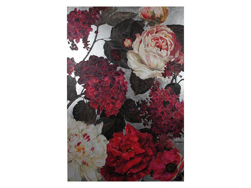Eurohome Большое изображение розовых цветов с серебром 150 х 225 см KWH7966
