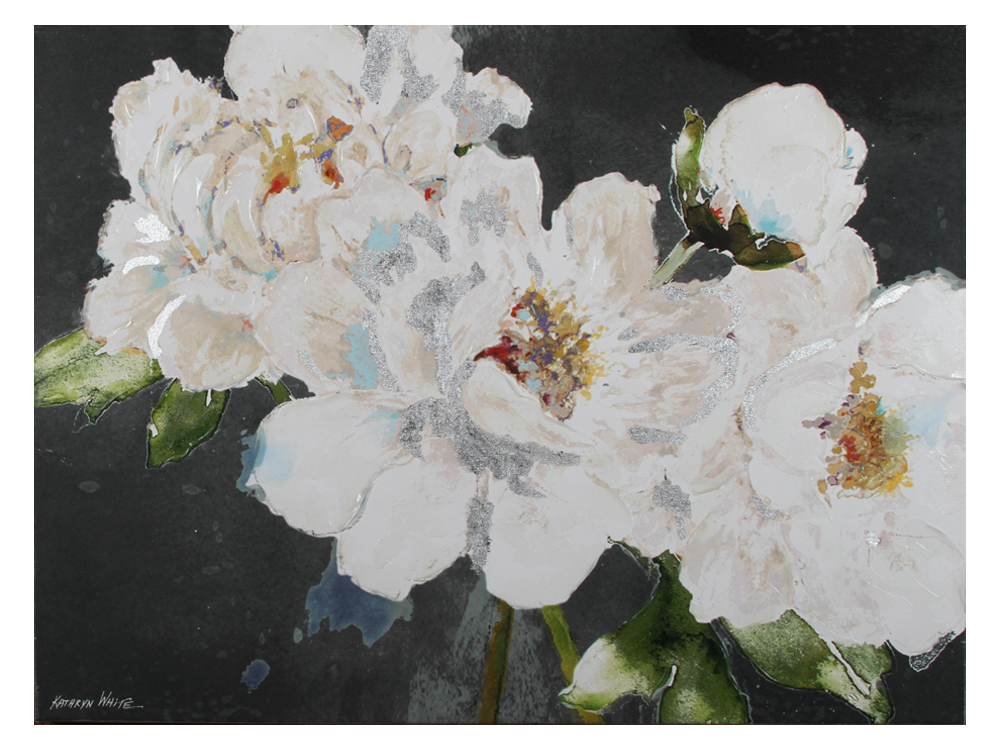 Eurohome Изображение белых цветов на темном фоне 90 х 120 х 5 см KWH7939