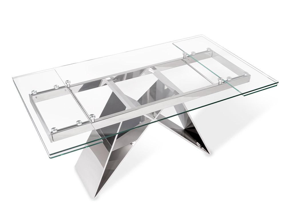 Eurohome Раскладной стол с прозрачной стеклянной столешницей 160-200 х 90 х 75 см CT2306
