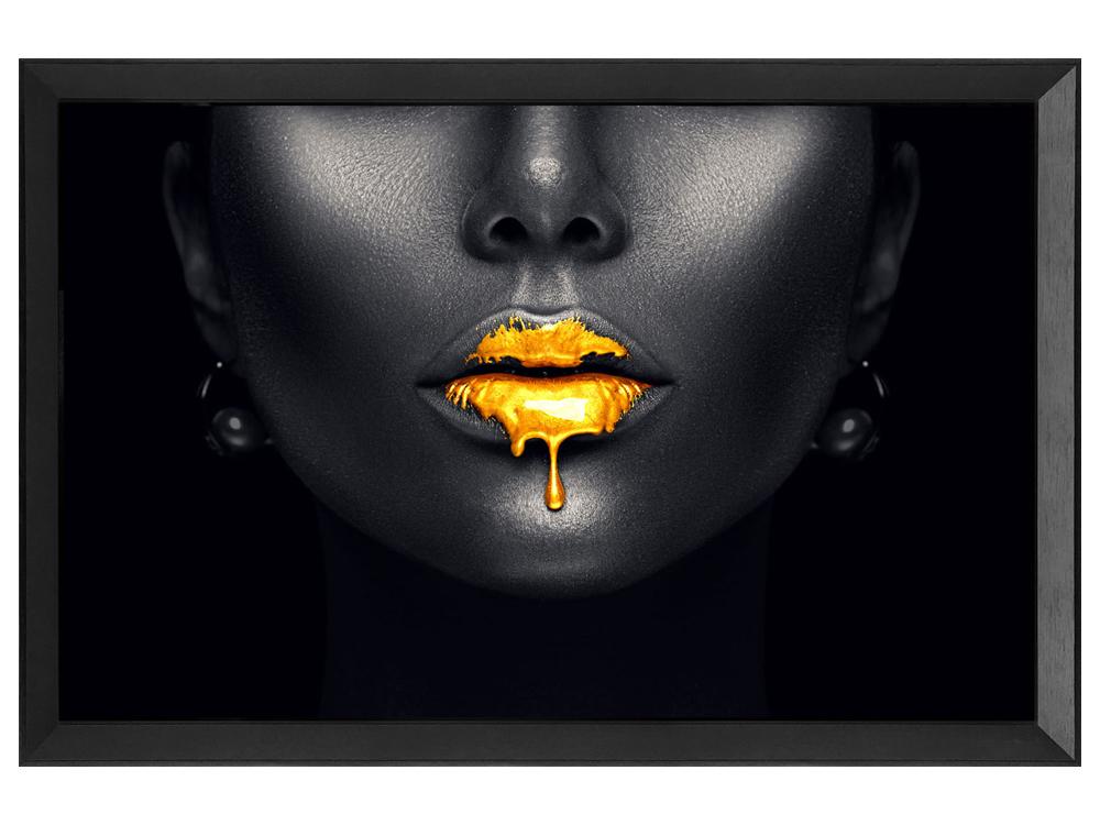Eurohome Изображение золотые губы 80 х 60 см S72655