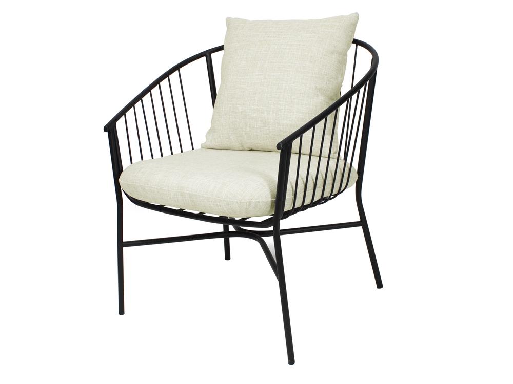 Eurohome Стальное закругленное черное кресло с мягкими подушками TOYJ19-538
