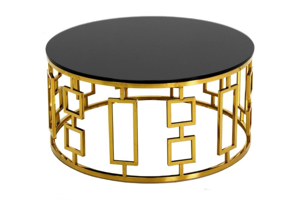 Eurohome Золотой круглый журнальный столик арт-деко ?90 х 42 см C415