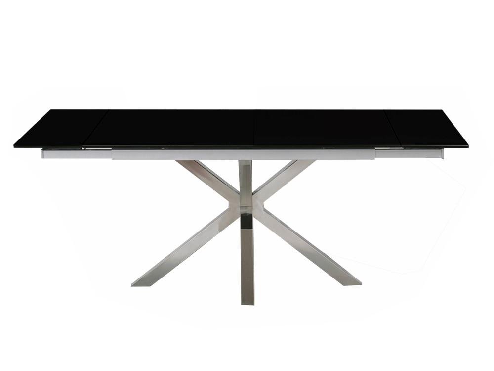 Eurohome Раскладной стол с черной стеклянной столешницей 140 / 200x90x75см CT2022