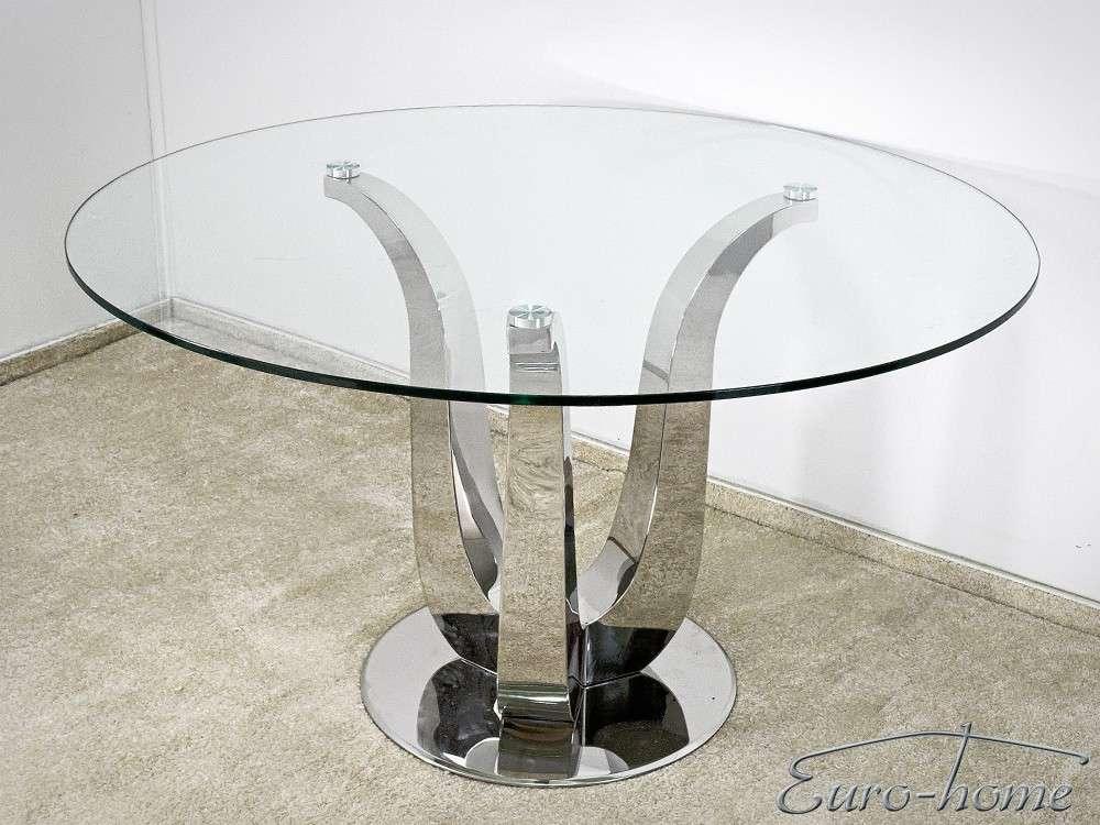 Eurohome Стеклянный стол, стальное основание TH704